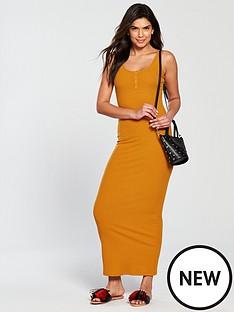 v-by-very-rib-popper-front-maxi-dress-mustardnbsp