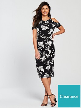1cae6f1def V by Very Floral Cold Shoulder Jersey Midi Dress