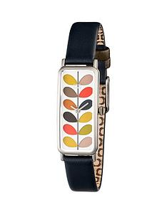 orla-kiely-silver-rectangular-case-with-stem-print-dial-and-navy-leather-strapnbspladies-watch