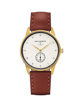 paul-hewitt-paul-hewitt-signature-line-white-dial-gold-case-brown-strap-mens-watch