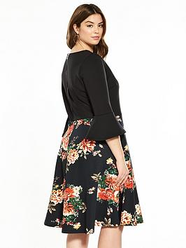 Outlet Official Sleeve Very V Curve Fluted Printed Dress by Inexpensive For Sale Low Shipping Cheap Price Hard Wearing Outlet Fashionable h1sEnC