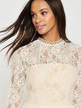 Mistress Dress Lace Trim Midi Little Beige Pleated High Quality For Sale Sale Best Sale 2018 Unisex Sale Online d6QEAPOf75