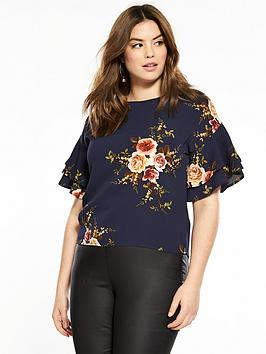 Navy Top Printed Frill Paris Sleeve AX  Buy Cheap Browse tc4H6Y7