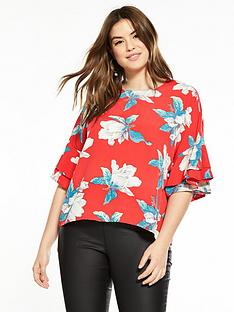 ax-paris-curve-frill-sleeve-floral-top