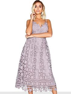 1acf6122a2e8 Little Mistress Crochet Midi Dress - Oyster