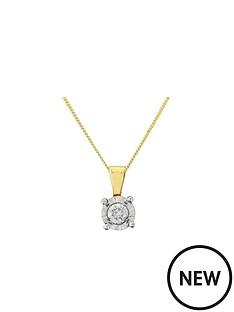 starlight-9ct-gold-14ct-look-5-point-diamond-illusion-set-pendant-and-chain