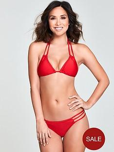 myleene-klass-plaited-triangle-shimmer-bikini-set-red