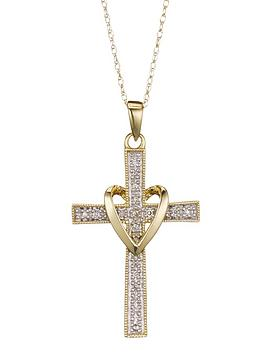 love-diamond-9-carat-yellow-gold-5-point-diamond-set-cross-pendant