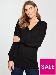 v-by-very-v-neck-blouson-sleeve-slouch-jumper-black