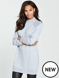 v-by-very-rib-hem-tunic-jumper-grey-marl