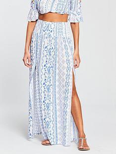 v-by-very-co-ord-shirred-beach-maxi-skirt-bluewhite