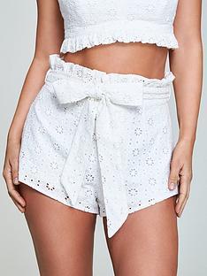 myleene-klass-broderie-anglais-shorts-white
