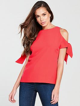 ted-baker-yaele-tie-sleeve-cold-shoulder-top-bright-red