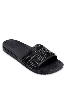 crocs-sloane-embellished-slider-black