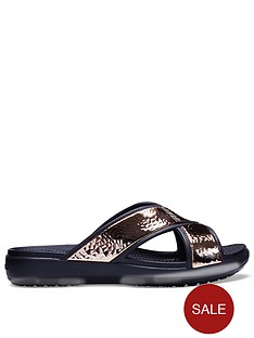 crocs-sloane-hammered-x-strap-slide-blackrose-gold