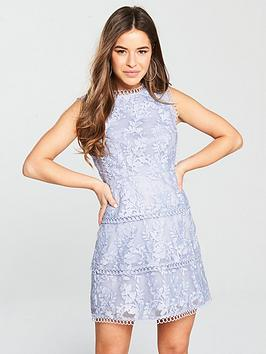 Dress Lace Blue Tiered by Very  V Embroidered Petite Cheap Sale Largest Supplier Outlet Amazon Official Online 4AqKH1XC