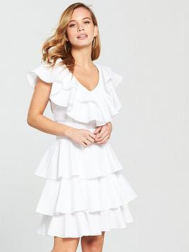 v-by-very-petite-ruffle-cotton-poplin-dress-white