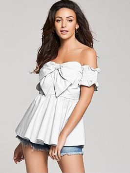 White Front Michelle Poplin Blouse Bardot  Cotton Bow Keegan New Arrival For Sale Ost Release Dates Very Cheap Cheap Online Cheap Sale Order Sale Great Deals Ubdo5