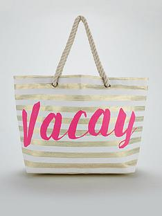 v-by-very-stripe-slogan-beach-bag-gold