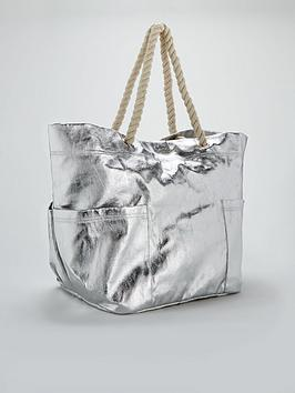 Silver by Beach Bag  Metallic Oversized V Very Free Shipping How Much VWF9xpP