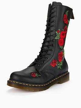 1f95d07a2b41 Dr Martens Vonda Embroidered 14 Eye Boots - Black ...