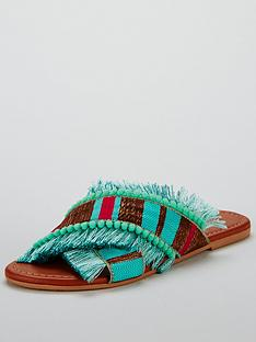 339e105251e9 V by Very Hawaii Cross Strap Slider - Turquoise