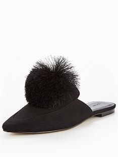 v-by-very-florence-pom-pom-flat-mule-black
