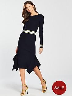karen-millen-bold-stripe-rib-knit-dress-blue