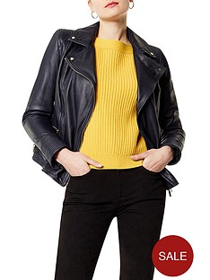 karen-millen-washed-leather-biker-jacket-navy