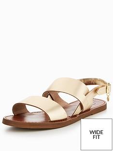 3908d303f9dc Dune London Lowpez Wide Fit Double Strap Flat Sandals