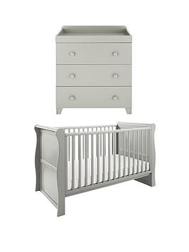 little-acorns-sleigh-cot-bed-amp-changer-nursery-furniture-set-grey-buy-and-save