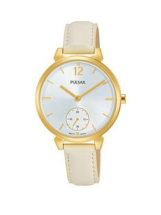 pulsar-gold-plated-stainless-steel-case-cream-leather-strap-silver-dial-ladies-watch