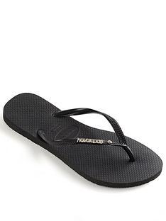 277031fcdfa7 Havaianas Slim Metal Logo   Crystal Flip Flop Sandal - Black