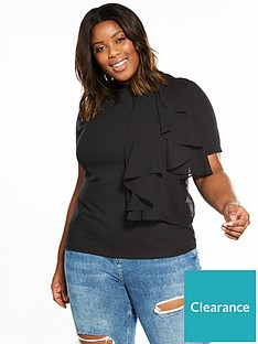 f9c22d31f62 Lost Ink Plus T-shirt With Woven Frill - Black