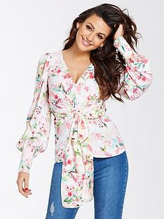 michelle-keegan-printed-tie-blouse