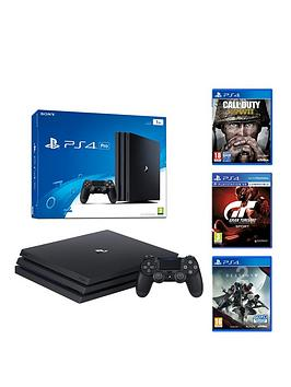 playstation-4-pro-pro-console-jet-blacknbspwith-gran-turismo-sport-call-of-duty-world-war-ii-and-destiny-2-plus-optional-extra-wireless-controller-andor-12-months-playstation-network