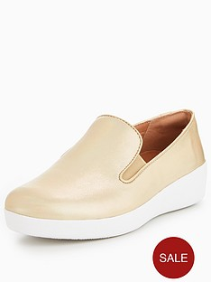 8a5b8c6eafcd8e FitFlop Superskate Sneakers - Gold