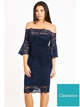 jessica-wright-lace-bardot-fluted-sleeve-midi-dress-navy