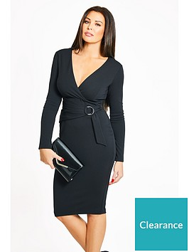 jessica-wright-buckle-detail-wrap-dress