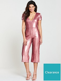 e25b09b9f8 V by Very Sequin Culotte Jumpsuit - Pink
