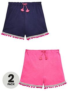 v-by-very-girls-2-pack-pom-pom-shorts-pinknavynbsp