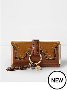 river-island-river-island-tan-hoop-front-clip-top-purse