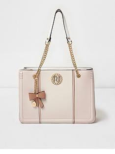 river-island-river-island-beige-chain-handle-pearl-branded-tote-bag