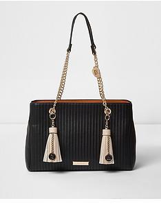 river-island-river-island-black-double-tassle-chain-tote-bag