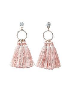 river-island-river-island-triple-tassel-drop-earring--light-pink