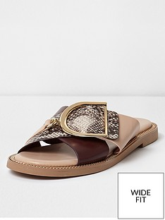 river-island-wide-fit-snake-cross-buckle-strap-sandal-pink