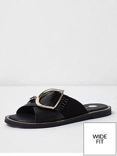 river-island-wide-fit-buckle-strap-mule-sandal-black