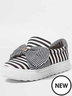 river-island-river-island-stud-bow-slip-on--blue-stripe