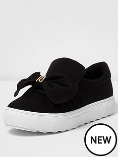 river-island-stud-bow-slip-on-black