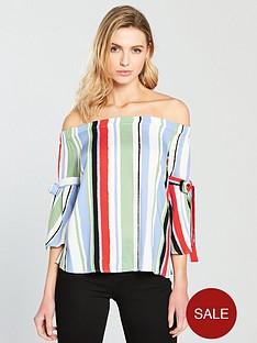 vila-esmerelda-off-the-shoulder-stripe-print-top-bluenbsp